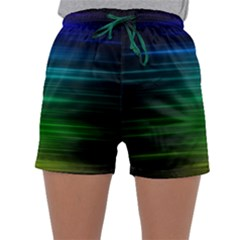 Blue And Green Lines Sleepwear Shorts