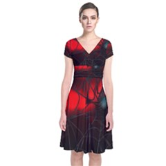 Spider Webs Short Sleeve Front Wrap Dress by BangZart