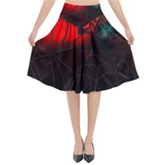 Spider Webs Flared Midi Skirt by BangZart