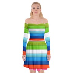Colorful Plasticine Off Shoulder Skater Dress