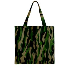 Green Military Vector Pattern Texture Zipper Grocery Tote Bag by BangZart