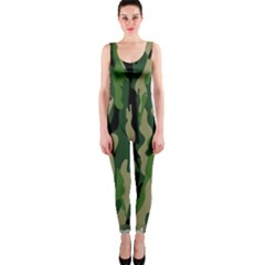 Green Military Vector Pattern Texture Onepiece Catsuit by BangZart
