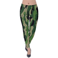 Green Military Vector Pattern Texture Velvet Leggings