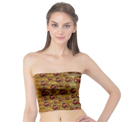 Angels In Gold And Flowers Of Paradise Rocks Tube Top by pepitasart