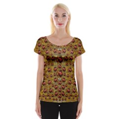 Angels In Gold And Flowers Of Paradise Rocks Cap Sleeve Tops