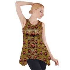 Angels In Gold And Flowers Of Paradise Rocks Side Drop Tank Tunic by pepitasart