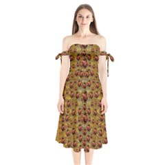 Angels In Gold And Flowers Of Paradise Rocks Shoulder Tie Bardot Midi Dress by pepitasart
