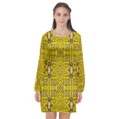 Stars And Flowers In The Forest Of Paradise Love Popart Long Sleeve Chiffon Shift Dress  by pepitasart