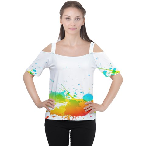 Colorful Abstract Women s Cutout Shoulder Tee by BangZart