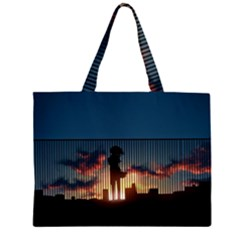 Art Sunset Anime Afternoon Zipper Large Tote Bag by BangZart