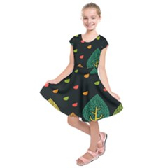 Vector Color Tree Kids  Short Sleeve Dress