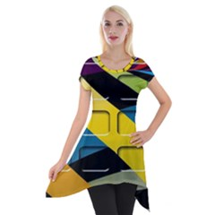 Colorful Docking Frame Short Sleeve Side Drop Tunic