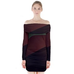 Color Vague Abstraction Long Sleeve Off Shoulder Dress by BangZart