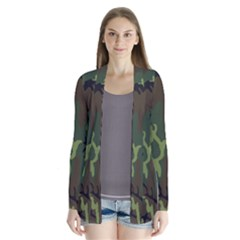 Military Camouflage Pattern Drape Collar Cardigan