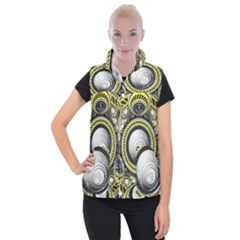 A Cautionary Fractal Cake Baked For Glados Herself Women s Button Up Puffer Vest by jayaprime