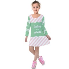 Today Will Be Great Kids  Long Sleeve Velvet Dress by BangZart