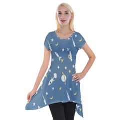 Space Rockets Pattern Short Sleeve Side Drop Tunic by BangZart
