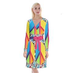 Peace Sign Animals Pattern Long Sleeve Velvet Front Wrap Dress