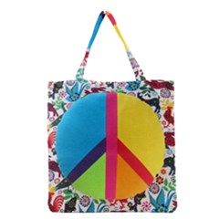 Peace Sign Animals Pattern Grocery Tote Bag