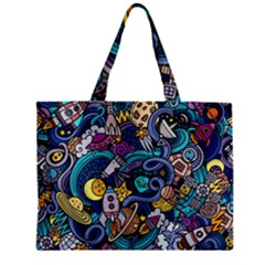 Cartoon Hand Drawn Doodles On The Subject Of Space Style Theme Seamless Pattern Vector Background Zipper Mini Tote Bag by BangZart