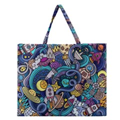 Cartoon Hand Drawn Doodles On The Subject Of Space Style Theme Seamless Pattern Vector Background Zipper Large Tote Bag by BangZart