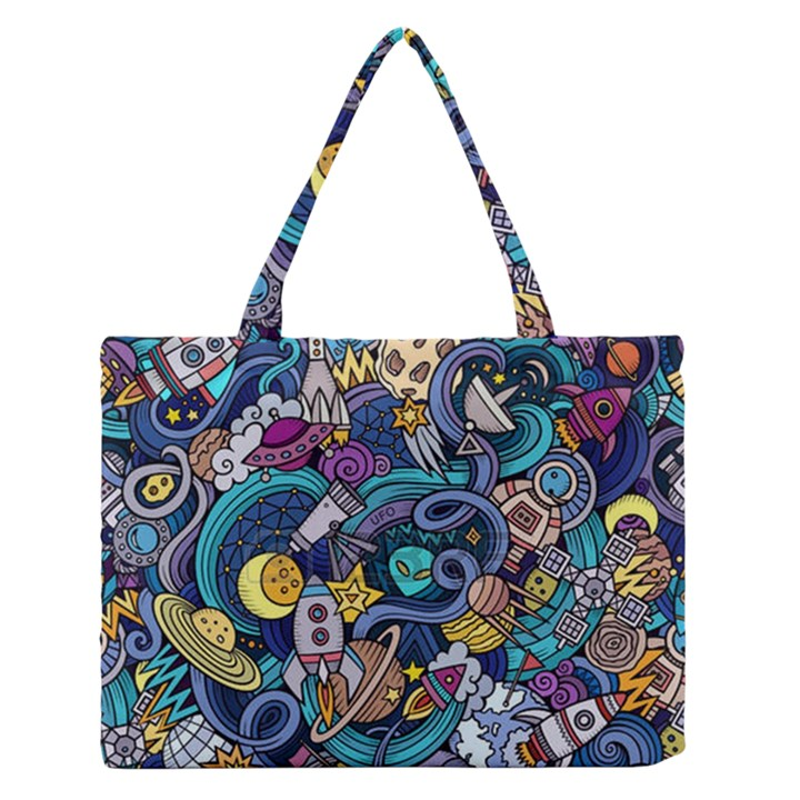 Cartoon Hand Drawn Doodles On The Subject Of Space Style Theme Seamless Pattern Vector Background Medium Zipper Tote Bag