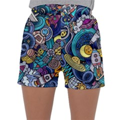 Cartoon Hand Drawn Doodles On The Subject Of Space Style Theme Seamless Pattern Vector Background Sleepwear Shorts