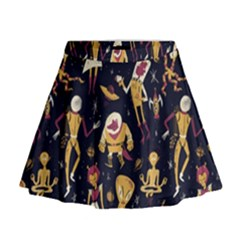 Alien Surface Pattern Mini Flare Skirt