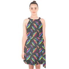 Alien Patterns Vector Graphic Halter Collar Waist Tie Chiffon Dress