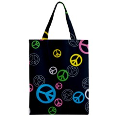 Peace & Love Pattern Zipper Classic Tote Bag by BangZart