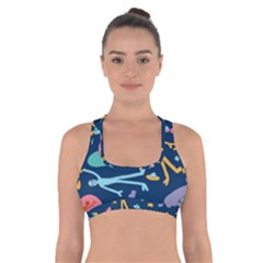 Alien Pattern Blue Cross Back Sports Bra by BangZart