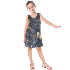 Monster Cover Pattern Kids  Sleeveless Dress by BangZart