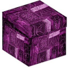 Purple Background Patchwork Flowers Storage Stool 12