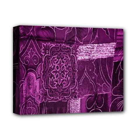 Purple Background Patchwork Flowers Deluxe Canvas 14  X 11  by BangZart