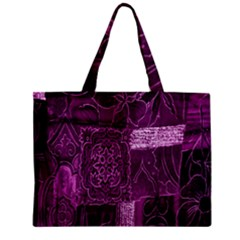 Purple Background Patchwork Flowers Zipper Mini Tote Bag by BangZart