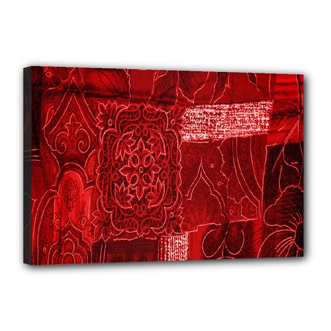 Red Background Patchwork Flowers Canvas 18  X 12