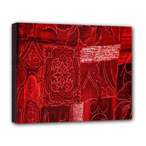 Red Background Patchwork Flowers Deluxe Canvas 20  X 16   by BangZart