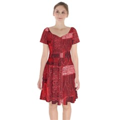 Red Background Patchwork Flowers Short Sleeve Bardot Dress