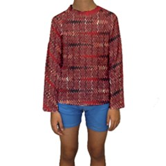 Rust Red Zig Zag Pattern Kids  Long Sleeve Swimwear by BangZart