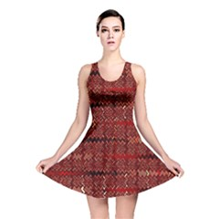 Rust Red Zig Zag Pattern Reversible Skater Dress by BangZart