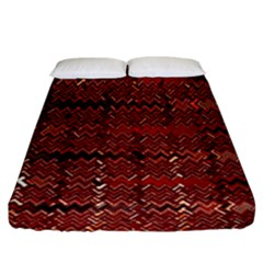 Rust Red Zig Zag Pattern Fitted Sheet (king Size) by BangZart