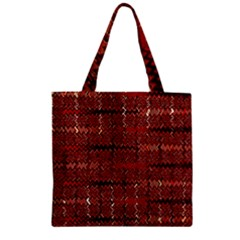 Rust Red Zig Zag Pattern Zipper Grocery Tote Bag by BangZart