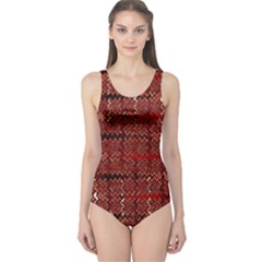 Rust Red Zig Zag Pattern One Piece Swimsuit by BangZart