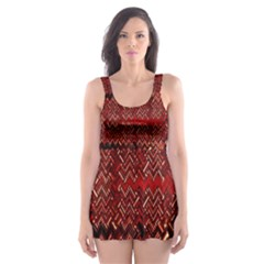 Rust Red Zig Zag Pattern Skater Dress Swimsuit by BangZart