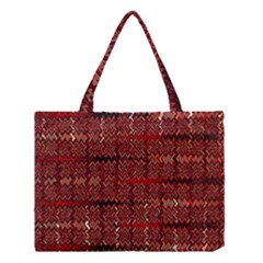Rust Red Zig Zag Pattern Medium Tote Bag by BangZart