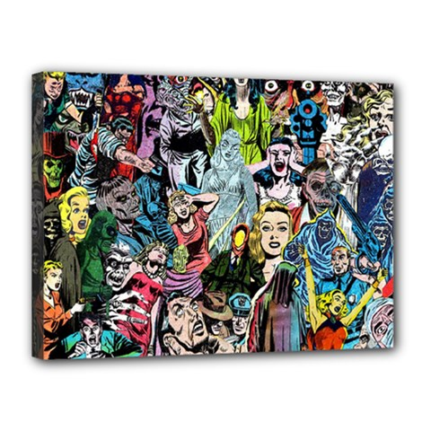 Vintage Horror Collage Pattern Canvas 16  X 12  by BangZart