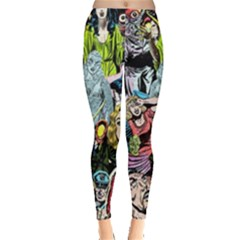 Vintage Horror Collage Pattern Leggings  by BangZart