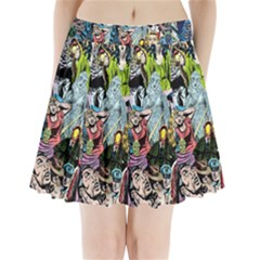 Vintage Horror Collage Pattern Pleated Mini Skirt by BangZart