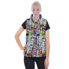 Vintage Horror Collage Pattern Women s Button Up Puffer Vest