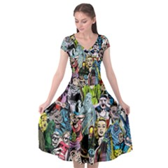 Vintage Horror Collage Pattern Cap Sleeve Wrap Front Dress by BangZart